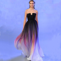 Vestidos Elie Saab Prom Dress Gradient Ombre Chiffon Strapless Long Train Party Dresses For Graduation Lily Collins