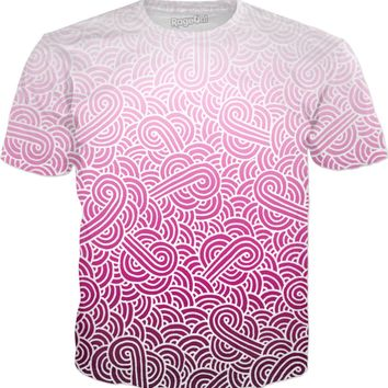 Ombre pink and white swirls doodles T-Shirt