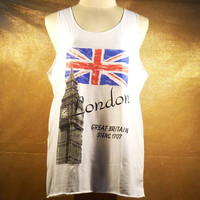 Country Uk Clock tower big ben London flag tank top off-white Men shirt blouse tank top dress women t shirt,teen girls shirt - Size M L
