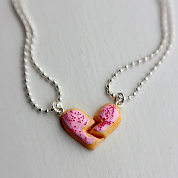 CLEARANCE - Broken Heart Frosted Sugar Cookie Best Friends Necklace  - Miniature Food Jewelry - Food Jewelry