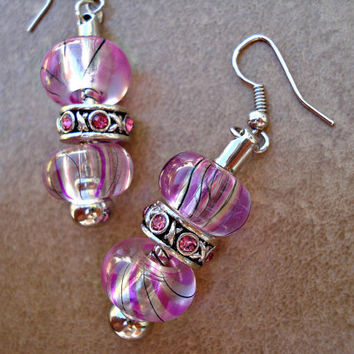 Silver, Pink and Black Swirl European Bead Earrings - Bridesmaid Gift, Mother's Day