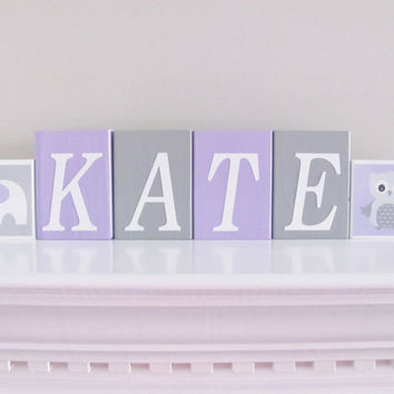 Owl Elephant, Baby Name Blocks, Baby Girl Nursery, Name Blocks, Lavender Gray, Baby Girl, Baby Gift, Baby Shower, Nursery Letters Photo Prop