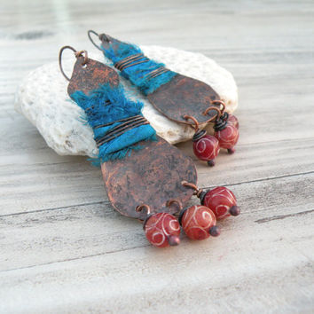 Silk and Copper Earrings, Blue and Red Rustic Bohemian Dangle Earrings