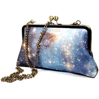Clutch Purse -  Universe/ Cotton silk galaxy print/ purse with chain/ night sky
