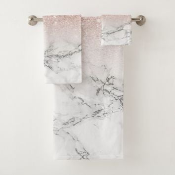 Chic faux rose pink glitter ombre white marble bath towel set