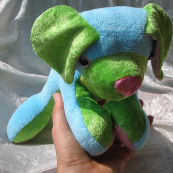 FAVORITE Terrier CUDDLY-PUPPY - Sparkling Eyes Turquoise pink green Toy Dog Animal soft plush stuffed - designed and made in Berlin-Germany