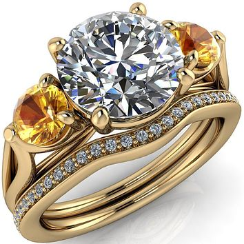 Mira Round Moissanite Yellow Sapphire Side Split Shank Cathedral Hybrid Engagement Ring