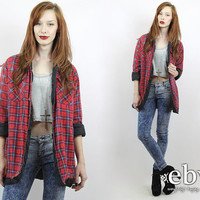Vintage 90s Red Plaid Flannel Shirt Jacket L XL 90s Grunge Shirt 90s Flannel Shirt Red Plaid Shirt Red Flannel Shirt Oversized Flannel Shirt