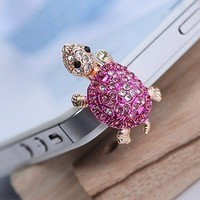 e-zone Dust Plug- Earphone Jack Accessories Crystal Lovely Pink Turtle/ Cell Charms / Ear Jack for Iphone 4 4s / Ipad / Ipod Touch / Samsung Galaxy /LG Other 3.5mm Ear Jack