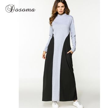 Casual Muslim Maxi Dress Cotton Abaya Patchwork Long Sleeve Robe Gowns Loose Moroccan Burka Middle East Arab
