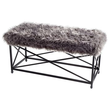 Ushanka Gray Faux Fur & Iron Bench by Cyan Design