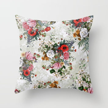 Botanical Flowers IV Throw Pillow by RIZA PEKER