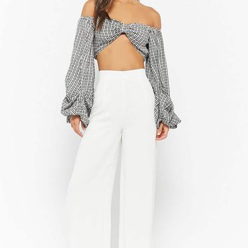 Selfie Leslie Plaid Off-the-Shoulder Top