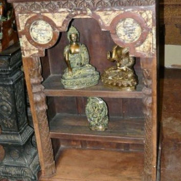 Antique Bookcase India Carved Wood Bookshelf Furniture India Decor Pair Available