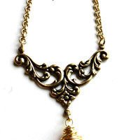 Gold Filigree Victorian pendant necklace and brass wire wrapped gold crystal. crystal necklace