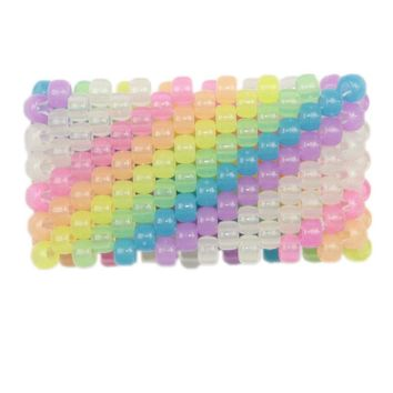 Glow in the Dark Diagonal Rainbow Kandi Cuff
