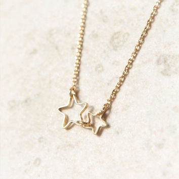 Double Stars Necklace in gold