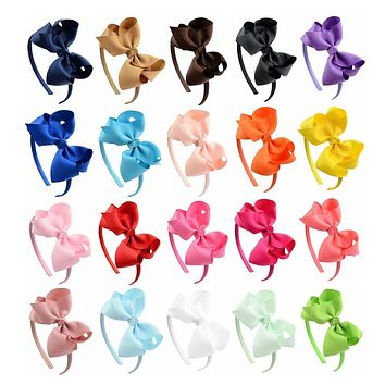 20pcs/lot Solid Grosgrain Ribbon Hairbands Princess Hair Accessories Plastic Hairband Girl Hairbands With Bows 675