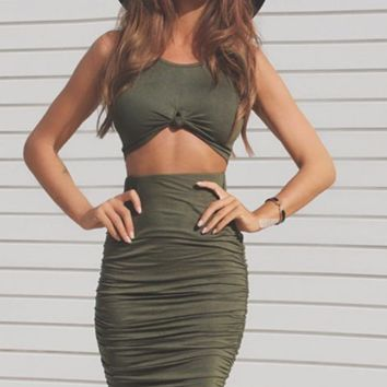 HOT GREEN TWO PIECE DRESS