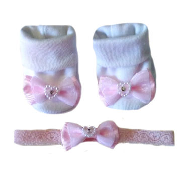 Baby Girls' Pink Heart Bow Booties & Headband Set