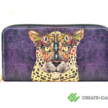 "Artist Designed Purse with credit card and zipper coin compartment ""Leopard Queen"" black stylish, unique, colourful vegan leather purse"