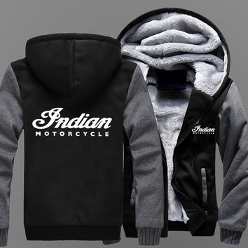 Winter Coat Indian Motorcycle Jacket Cashmere  Men Thick Warm Coat Cotton-Padded Jacket Zipper Hoodies Fleece Sweatshirts
