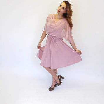 Vintage 1970s does 40s Gilberti Pink Mauve Shirt  Day 50s Tea Dress Sundress Cape Sleeve Medium Swing Dress Romantic  Batwing Prom Dress
