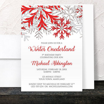 Winter Onederland Invitations Boy - Red Silver Snowflake design on White - Winter 1st Birthday - Printed Invitations