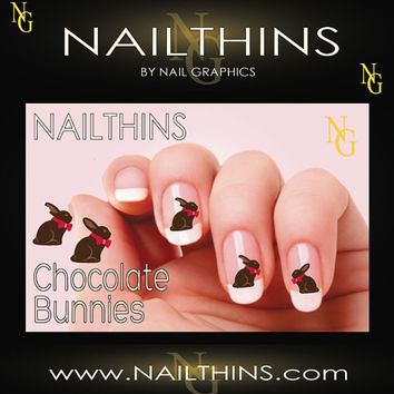 Chocolate Bunnies NAILTHINS Nail art  Nail Decals  by NailGraphics