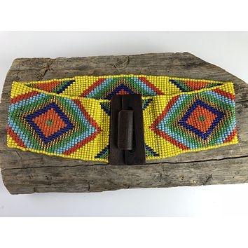 Yellow Handmade Beaded Belt