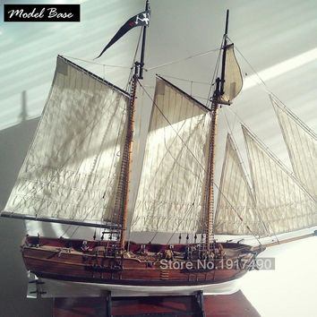 Ship Model Kit DIY Educational Games For Grownups Wooden Ship Model Laser Cut Scale 1/60  Blackbeard's Pirate Ships  Adventures