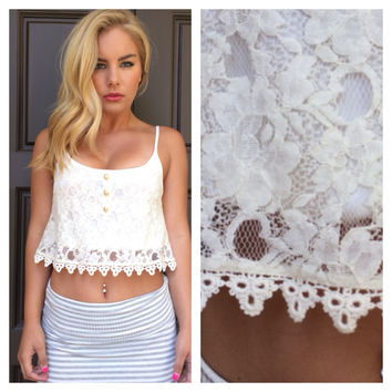 Lovely Lace Crop Tank - IVORY