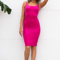 Suede Bodycon Dress - Fuchsia