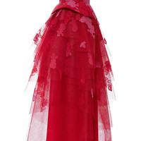 Silk Lace Embroidered Strapless Gown with Tiered Skirt