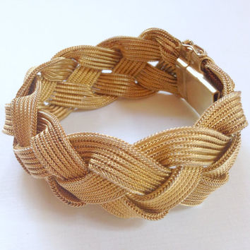 Woven Gold Bracelet Wide Braided Cuff