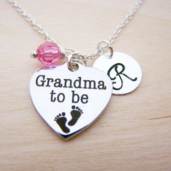 Grandma to Be Charm Swarovski Birthstone Initial Personalized Sterling Silver Necklace / Gift for Her - Grandma Necklace - Grandma to Be