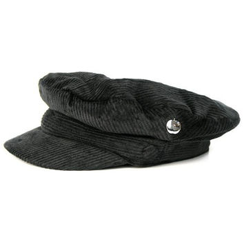 Official The Beatles John Lennon Corduroy Breton Sterkowski style cotton Cap Hat (Medium, Black)