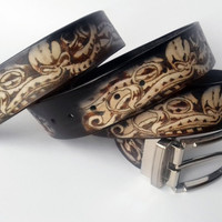 Leather Belt, Pyrography, Octopus, Leather Belt, Exclusive, Gift for men, Gift for woman