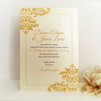 Damask Wedding Invitation Printed On Luxury Cream Pearlescent Paper Gold And Black Chic Invite
