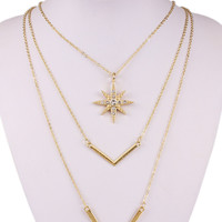 Gold Rhinestone V Pendant Necklace