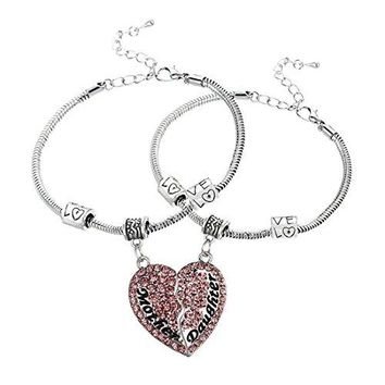 2PCs Matching Heart Mother Best Friends Forever Full CZ Diamond Engraved Letter Heart Bracelets Set