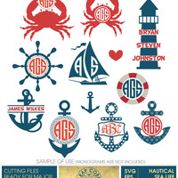 Nautical Sea Life Digital Monogram Frames. Vector Decal Clipart cut files (SVG, eps, DXF, PNG) transfers, Silhouette, cutting machines cv439
