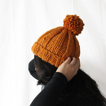 Knit Pom Pom Beanie, Chunky Knits, Women's Beanie Hat, Pom Pom Hat, Warm Wool Beanie, Winter Accessories