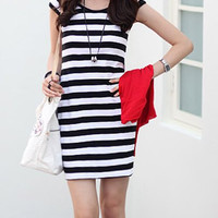 Black Striped Mini Dress