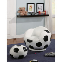 Coaster Furniture 460178 Small Kids Soccer Ball Chair and Ottoman