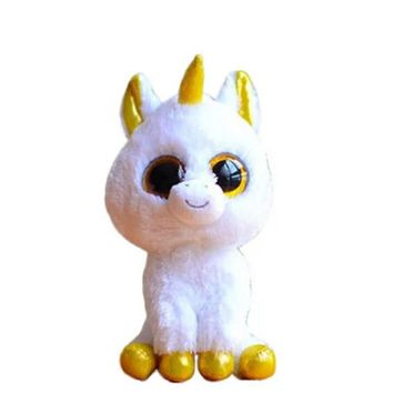 TY Plush Animals White Unicorn TY Beanie Boos Big Eyes 15cm Plush Toy Doll Kawaii for Children Birthday Christmas Gifts Toy