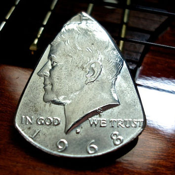 Silver Coin Guitar Pick -- 1968 Kennedy Half Dollar Guitar Pick