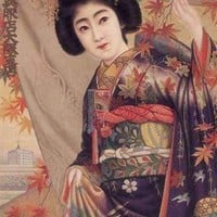 Japanese Woman with a Japanese Maple (Fine Art Giclee)