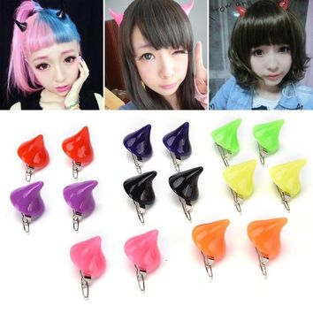 1 Pair Horror Gothic Cosplay Costume Hair Clips Small Demon OX Horn Halloween Hair Accessories Clip Pin Hairpins Y1