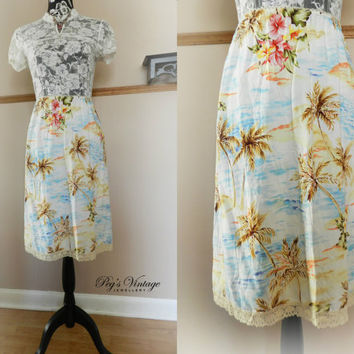 Vintage Hawaiian/Tropical Skirt/Half Slip, Palm Tree/Floral Print, Size Large Roxy Skirt